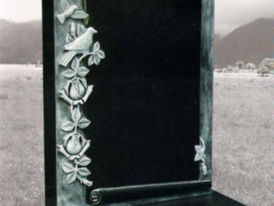 Scroll Black with Rose Design